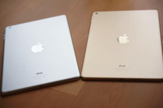 iPad Air 2とiPad Airの比較。100円玉7枚分軽く、100円玉1枚分薄く、そして速くなったのがうれしい