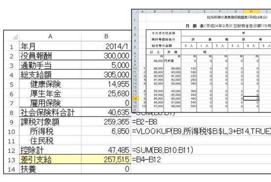 ひとり社長のExcel給与計算。源泉所得税はVLOOKUP関数で計算