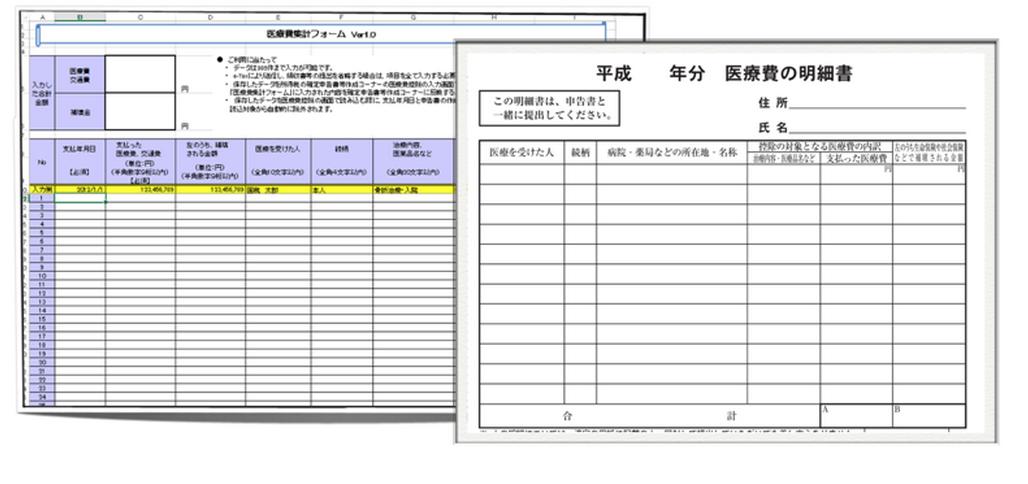 医療費控除を効率化するツールーExcelのピボットテーブル・国税庁サイトの医療費集計フォームー