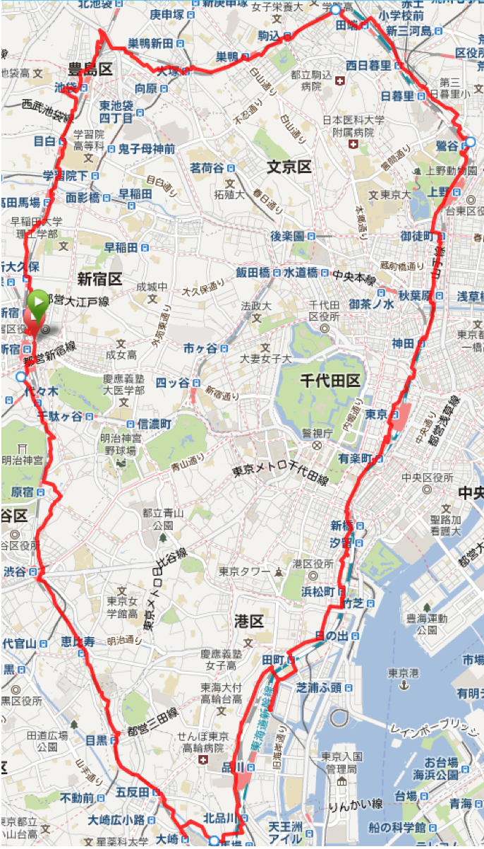 「43.08km、5時間54分」。新春ひとり山手線1周ランレポート。