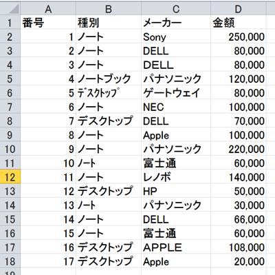 Excel データ 不揃い