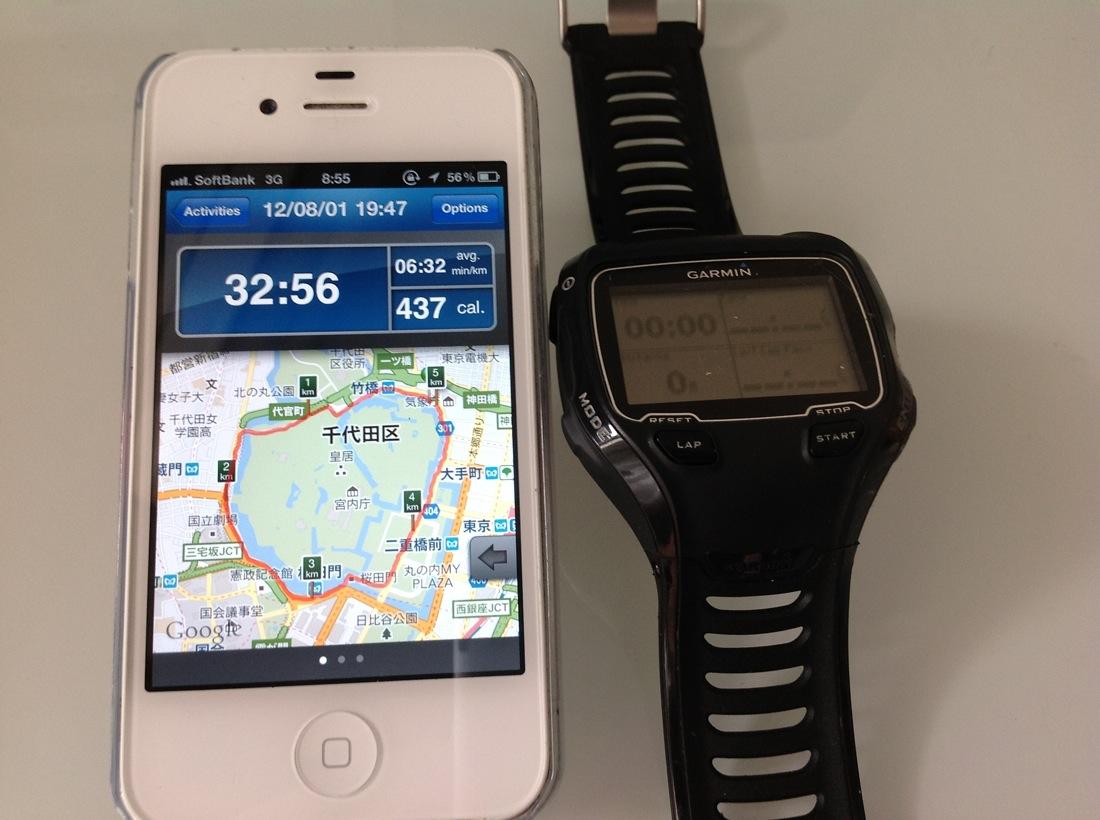 ランニング時のタイム計測にはどっちが便利? iPhoneアプリVSガーミン