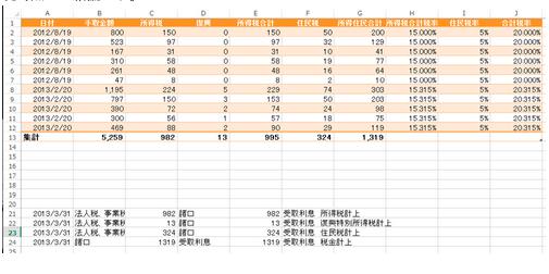 【復興特別所得税導入後の預金利息】対策Excel
